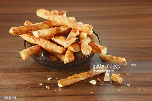 Cheese sticks in bowl, close-up