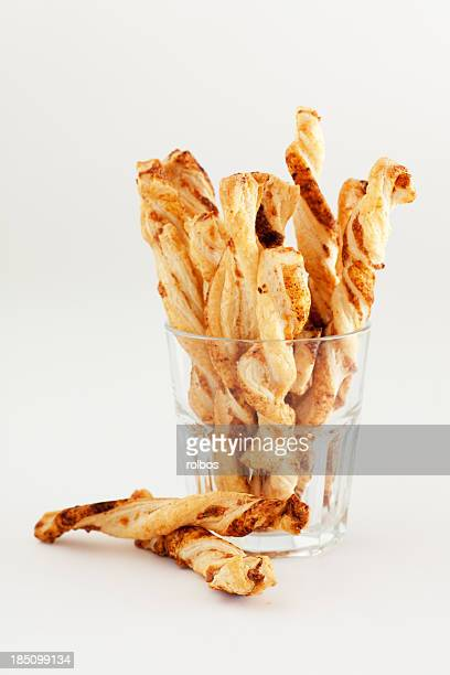 cheese straws in glass