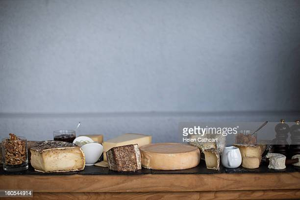 cheese trolley in bourget du lac - cheese stock photos and pictures