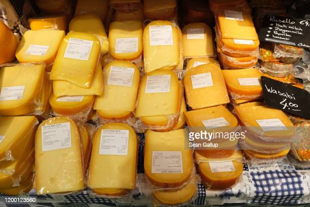 Cheese varieities from Holland lie on display and for sale at the Green Week agricultural trade fair on January 17, 2020 in Berlin, Germany. Green...