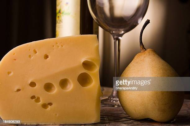 Cheese, wineglass, pear