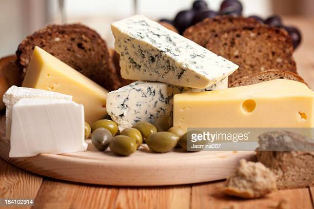 Cheese with bread and olives