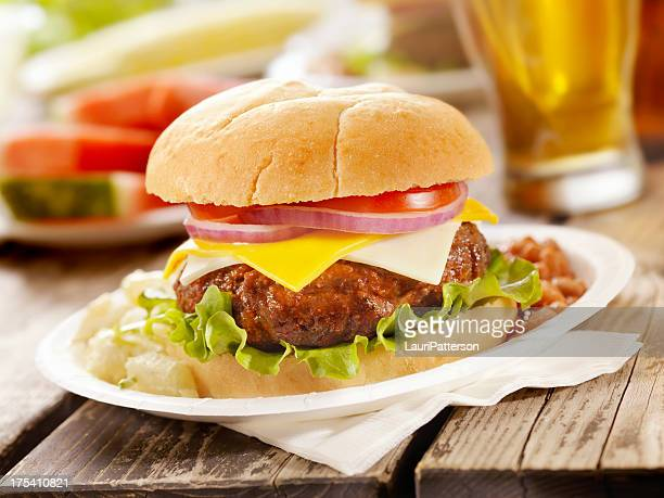 cheeseburger and a beer - paper plate stock photos and pictures