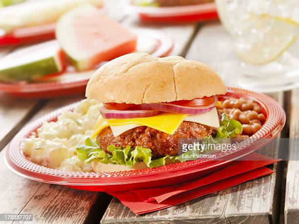 cheeseburger and lemonade - paper plate stock photos and pictures