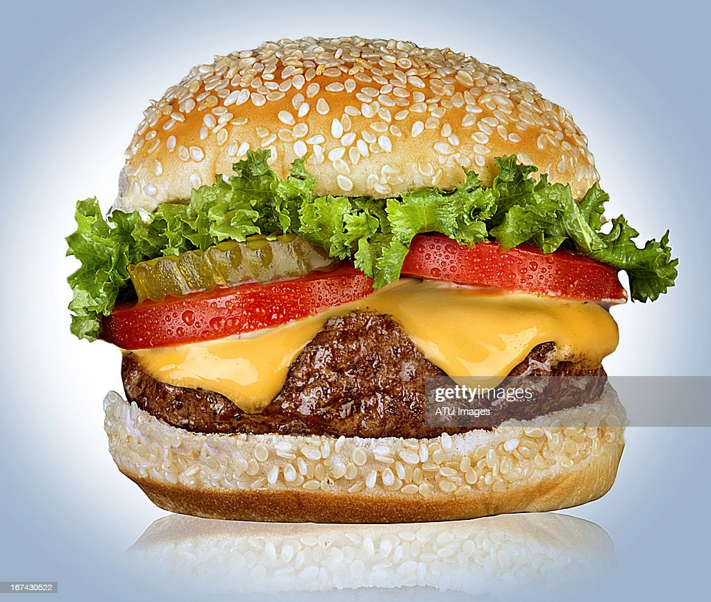 Cheeseburger on white : Stock Photo