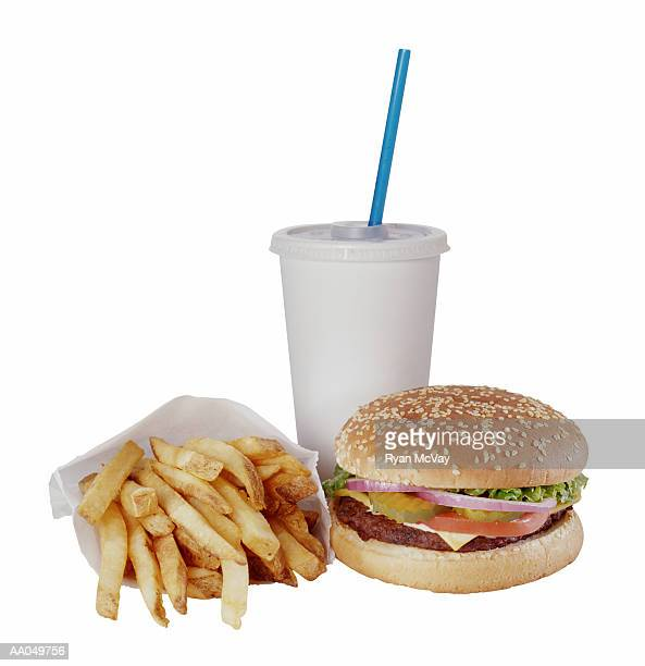 Cheeseburger with Fries and a Soft Drink