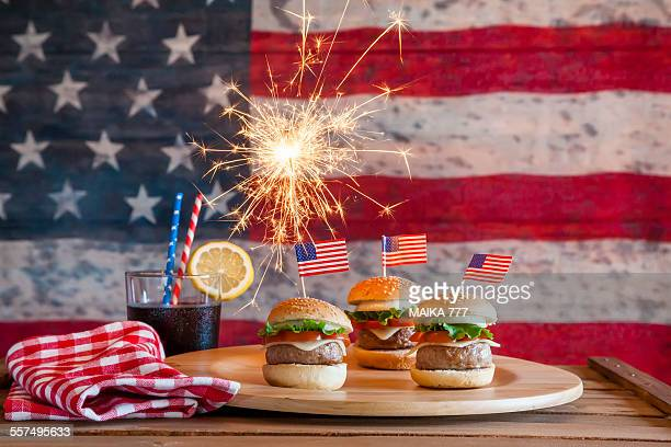 Cheeseburgers & background American flag 4th july