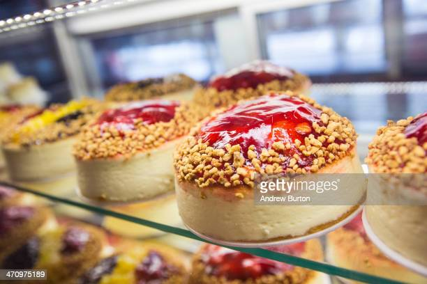 Cheesecake sits for sale in the Bakery display counter of Junior's restaurant a staple of Brooklyn dining since the 1950s on February 21 2014 in the...