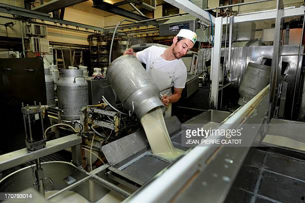 A cheesemaker pours milk in a vat at the beginning of the processing of the Beaufort cheese on June 11 2013 in a Beaufort factory in Beaufort...