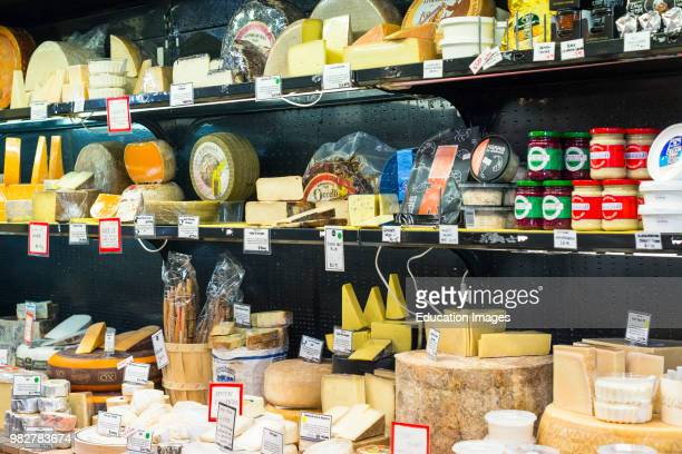 Cheeses on display at the Stinky Cheese Shop at the Adelaide Central Market South Australia.