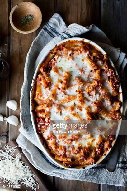 Cheesy baked chard rigatoni, gluten-free.