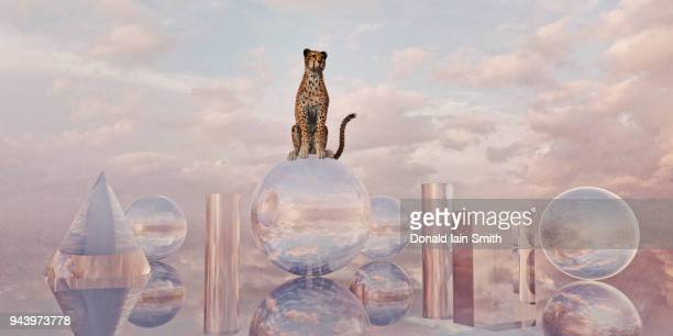 Cheetah sits on sphere surrounded by glass shapes in surreal cloudy landscape