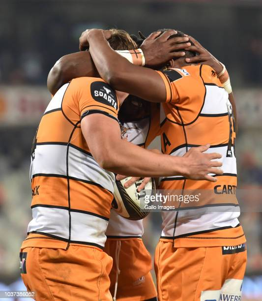 Cheetahs celebrating during the Guinness Pro14 match between Toyota Cheetahs and Ulster at Toyota Stadium on September 21 2018 in Bloemfontein South...
