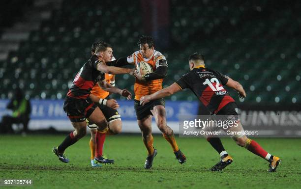 NEWPORT WALES MARCH Cheetahs' Francois Venter is tackled by Dragons' Connor Edwards during the Guinness PRO14 Round 18 match between Dragons and...