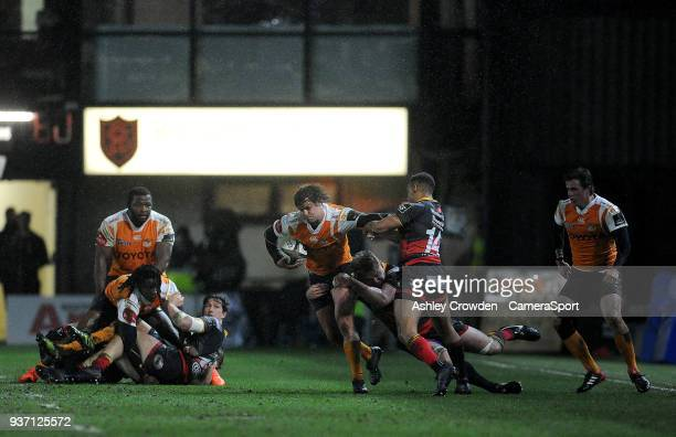 NEWPORT WALES MARCH Cheetahs' Francois Venter is tackled by Dragons' Lloyd Fairbrother during the Guinness PRO14 Round 18 match between Dragons and...