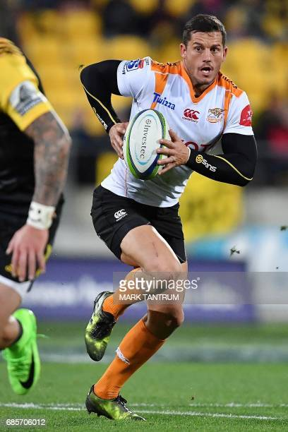 Cheetahs' Shaun Venter runs with the ball during the Super Rugby match between New Zealand's Hurricanes and South Africa's Cheetahs at Westpac...