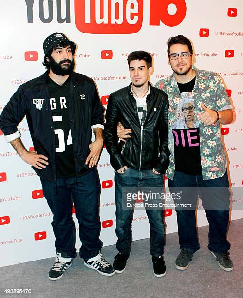 Cheeto Alexby and Mangel attend YouTube 10th Anniversary Gala on October 22 2015 in Madrid Spain