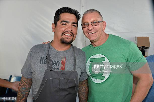 Chef Aarón Sánchez and Robert Irvine attend KitchenAid® Culinary Demonstrations during the Food Network South Beach Wine Food Festival at Grand...