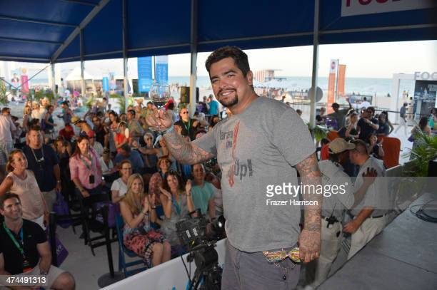 Chef Aarón Sánchez attend KitchenAid® Culinary Demonstrations during the Food Network South Beach Wine Food Festival at Grand Tasting Village on...