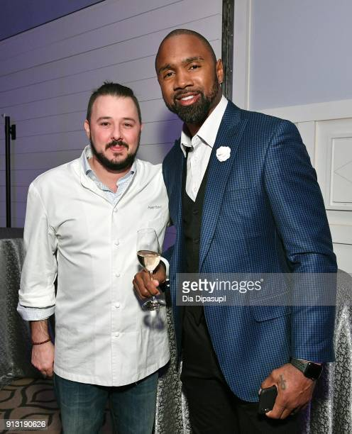 Chef Adam Sobel and Former NFL player Charles Woodson attend the #Culinary Kickoff at Spoon And Stables Restaurant on February 1 2018 in Minneapolis...