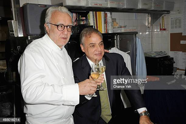 Chef Alain Ducasse and Founder Director of SOBEWFF and NYCWFF Lee Brian Schrager at An Evening With Alain Ducasse And Friends part of the Bank Of...