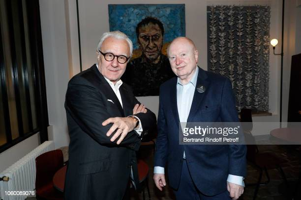 Chef Alain Ducasse and Painter Christoph von Weyhe attend Alaia Foundation Library Opening at Gallery Azzedine Alaia on November 10 2018 in Paris...