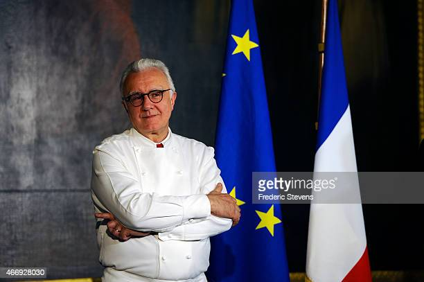 Chef Alain Ducasse seen during the Minister of Foreign Affairs Laurent Fabius' speech at the Gout de France/Good France dinner at the Chateau De...