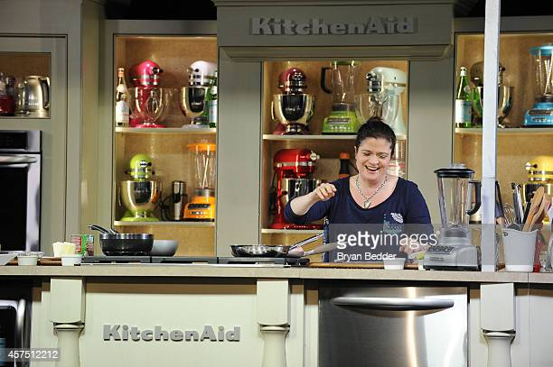 Chef Alex Guarnaschelli conducts a culinary presentation at the Grand Tasting presented by ShopRite featuring KitchenAid® culinary demonstrations...