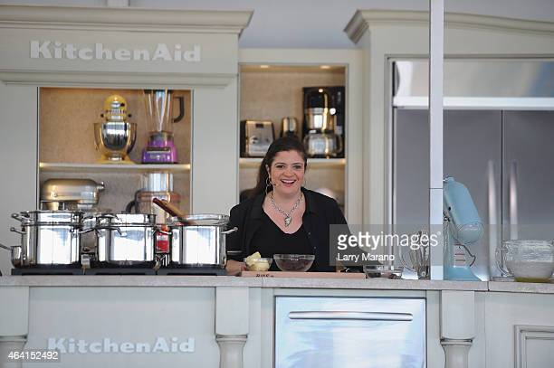 Chef Alex Guarnaschelli prepares food with KitchenAid at the Whole Foods Market Grand Tasting Village featuring MasterCard Grand Tasting Tents...