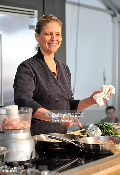Chef Amanda Freitag hosts a cooking demo at Chipotle's Cultivate San Francisco a culinary celebration in Golden Gate Park on June 8 2013 in San...