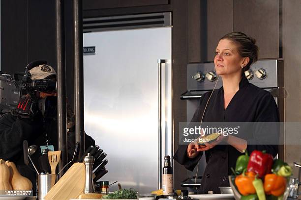 Chef Amanda Freitag makes Butternut and Acorn Squash Salad with Pumpkin Seed Oil during her demo at Chipotle presents Cultivate Denver a food music...