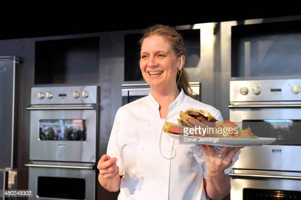 Chef Amanda Freitag prepares a food dish demostration during Chipotle's Cultivate San Francisco Food Music and Ideas Festival at Golden Gate Park on...