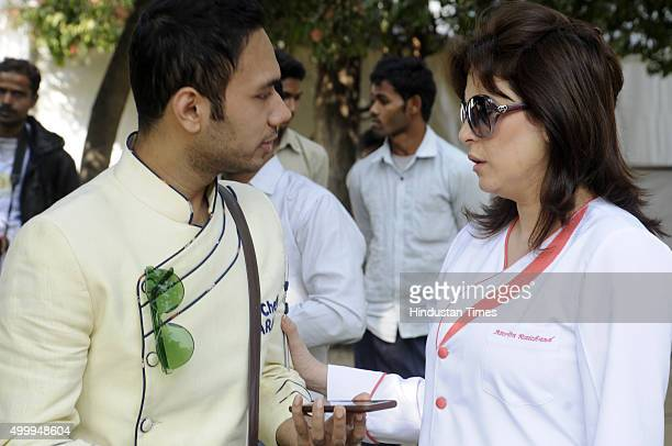 Chef Amrita Raichand and Chef Saransh Goila during Hindustan Times The Gourmet High Street at Sector29 Leisure Valley Ground on December 4 2015 in...