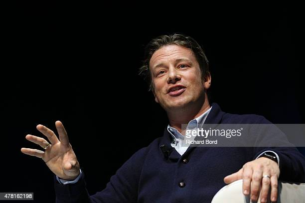 Chef and businessman Jamie Oliver speaks onstage a the Edelman seminar during the Cannes Lions International Festival of Creativity on June 23 2015...
