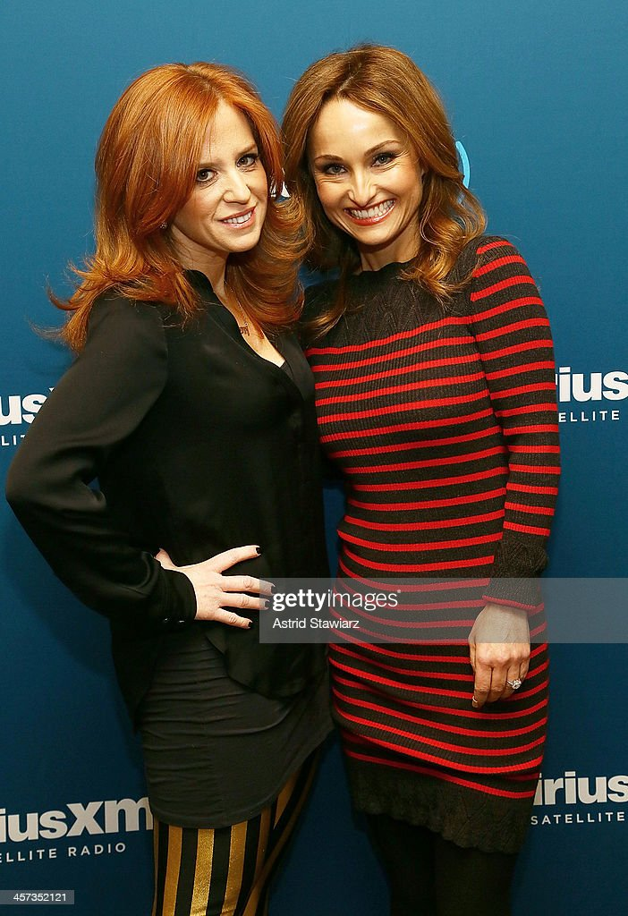 Chef and cookbook author Giada De Laurentiis (R) is interviewed for SiriusXM's Leading Ladies hosted by SiriusXM host Jenny Hutt (L) at SiriusXM Studios on December 16, 2013 in New York City.
