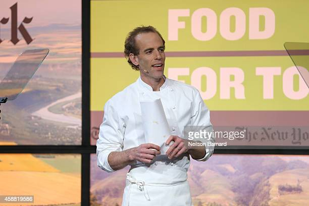 Chef and coowner of Blue Hill and Blue Hill at Stone Barns Dan Barber speaks at The New York Times Food For Tomorrow Conference At Stone Barns NY on...
