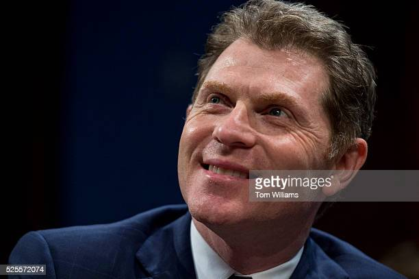 Chef and racehorse owner Bobby Flay prepares of news conference in the Capitol Visitor Center April 28 on the 'Thoroughbred Horseracing Integrity...