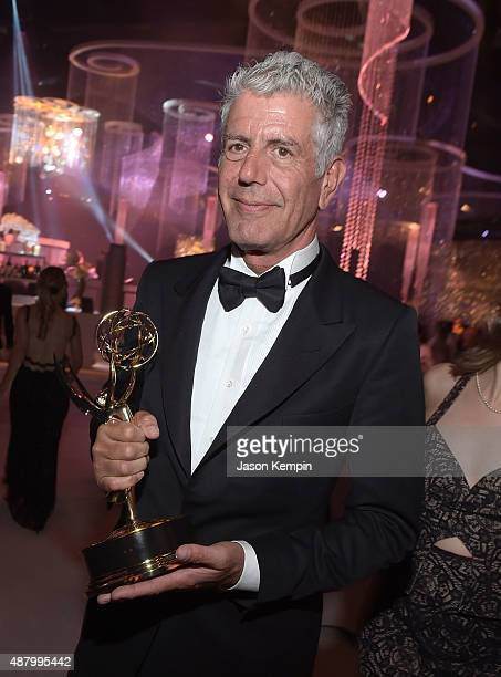 Chef and television personality Anthony Bourdain attends the 2015 Creative Arts Emmy Awards Governors Ball at Microsoft Theater on September 12 2015...