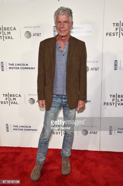 Chef and television personality Anthony Bourdain attends 'WASTED The Story Of Food Waste' premiere on April 22 2017 in New York City