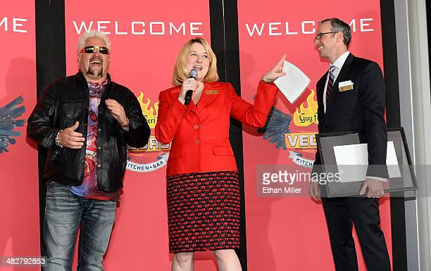 Chef and television personality Guy Fieri Regional President of The Quad Resort Casino Eileen Moore and Regional Vice President and Assistant General...