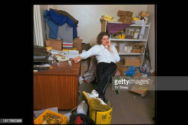 Chef and television personality Marco Pierre White photographed on the telephone, circa 1989.