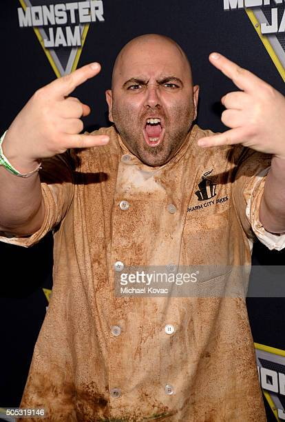 Chef and TV personality Duff Goldman attends Monster Jam Celebrity Night at Angel Stadium on January 16 2016 in Anaheim California