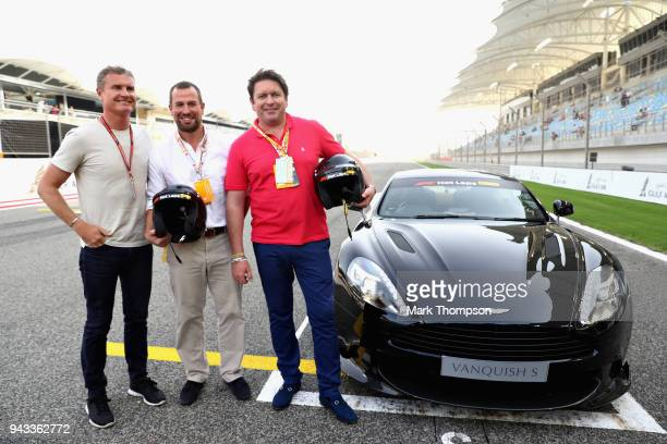 Chef and TV personality James Martin and Peter Philips prepare to be driven by David Coulthard in an Aston Martin Vanquish S as part of F1 Hotlaps...
