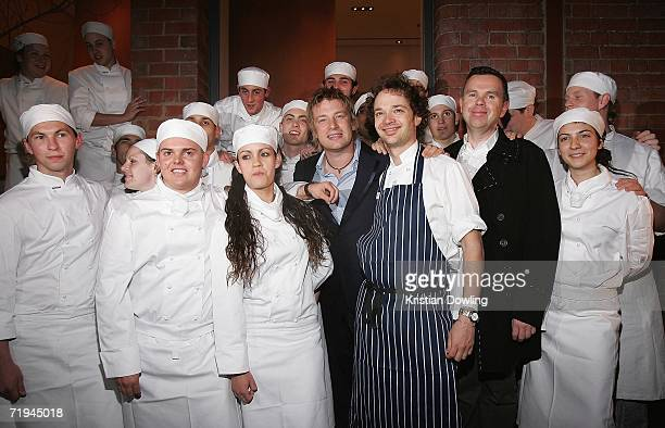 Chef and TV Personality Jamie Oliver poses with his trainees at the Fifteen Melbourne restaurant launch Jamie Oliver's first franchise of the Fifteen...
