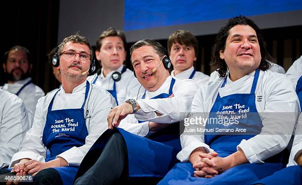 Chef Andoni Luis Aduriz Joan Roca and Gaston Acurio attends the conference 'Save the Oceans Feed the World' at Basque Culinary Center on March 17...