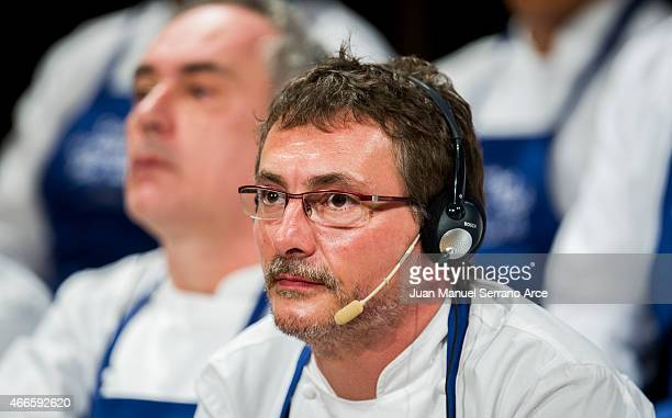 Chef Andoni Luis Aduriz reacts during the conference 'Save the Oceans Feed the World' at Basque Culinary Center on March 17 2015 in San Sebastian...