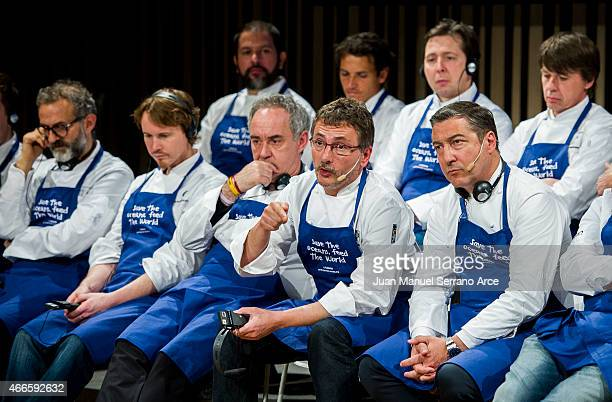 Chef Andoni Luis Aduriz speaks during the conference 'Save the Oceans Feed the World' at Basque Culinary Center on March 17 2015 in San Sebastian...