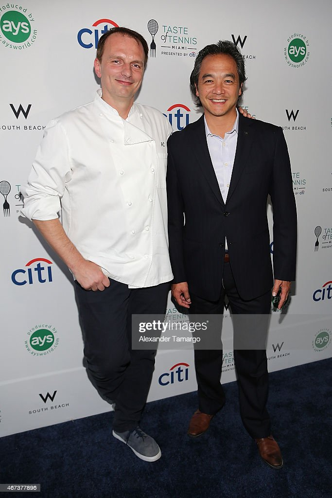 Chef Andrew Carmellini (L) and Rick Ueno attend Taste Of Tennis Miami Presented By Citi at W South Beach on March 23, 2015 in Miami Beach, Florida.