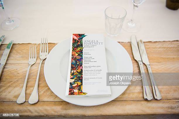 Chef Angela Hartnett poses in the banquet hall on Day 1 of Wilderness festival on August 7 2015 in Oxford United Kingdom