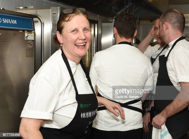 Chef Angela Hartnett prepares food in the kitchen at Who's Cooking Dinner 2018 a charity dinner featuring 20 of the capital's finest chefs cooking...